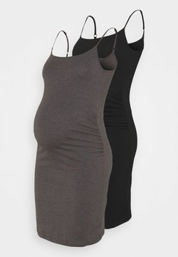 Anna Field MAMA - 2 PACK - Jerseykleid - black/dark grey