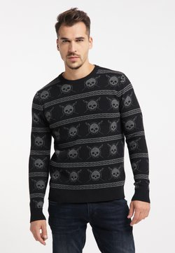 TUFFSKULL - Stickad tröja - schwarz dunkelgrau melange