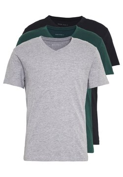 Pier One - 3 PACK  - Basic T-shirt - black, grey, green