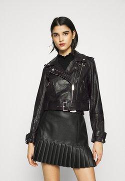 River Island - BIKER - Leather jacket - black