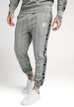 SIKSILK - DOG TOOTH CHECK CUFFED PANT - Stoffhose - black/white