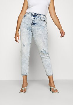 Simply Be - BUTTON FLY DISTRESSED MOM - Jeans relaxed fit - acid bleach