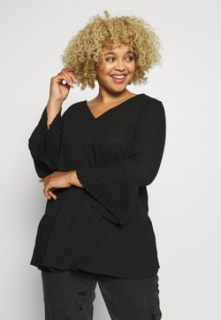 CAPSULE by Simply Be - V-NECK FRILL PLEAT BLOUSE - Bluse - black