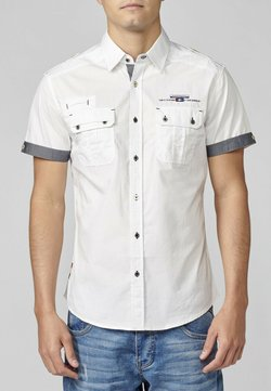 Koroshi - Camisa con Detalles en Pecho y Solapa - Camisa - blanco denim