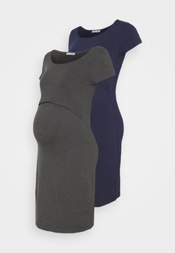 Anna Field MAMA - 2ER PACK NURSING FUNCTION DRESS - Kotelomekko - dark blue/dark grey