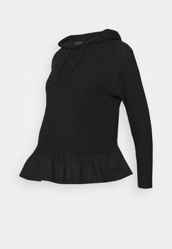 New Look Maternity - FRILL HOODIE - Sudadera - black