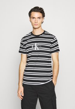 Calvin Klein Jeans - STRIPED CENTER LOGO TEE - Print T-shirt - black