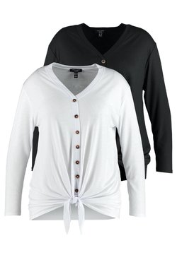 New Look Curves - 2 PACK BUTTON THROUGH TIE FRONT  - Pitkähihainen paita - black/white