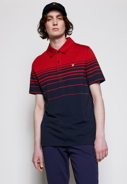 Lyle & Scott - PLACEMENT STRIPE RELAXED FIT - Poloshirt - chilli pepper red/dark navy