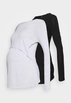 Cotton On - TWO IN ONE LONG SLEEVE 2 PACK - Camiseta de manga larga - black/silver marle