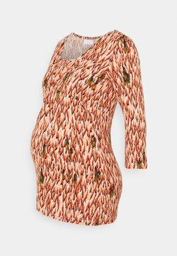 MAMALICIOUS - MLJACINDA TESS 3/4 WRAP  - Camiseta de manga larga - parchment/auburn and muted clay