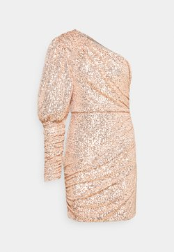 Missguided - PREMIUM PARTY ONE SHOULDER ROSE GOLD RUCHED PUFF SLEEVE DRESS - Cocktailklänning - rose gold