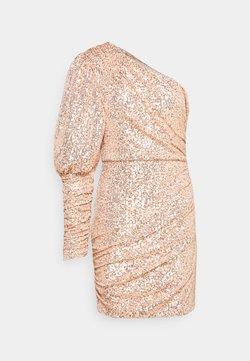 Missguided - PREMIUM PARTY ONE SHOULDER ROSE GOLD RUCHED PUFF SLEEVE DRESS - Sukienka koktajlowa - rose gold