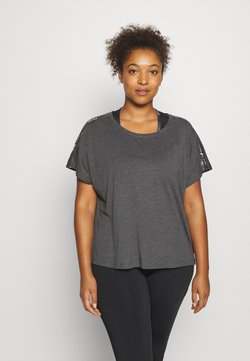ONLY Play - ONPSUE LIFE LOOSE TEE CURVY - Funktionsshirt - dark grey melange