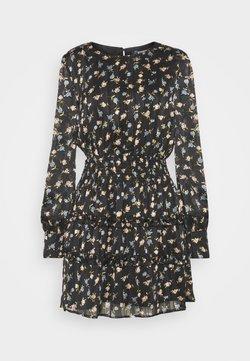 Missguided - FLORAL SHIRRED WAIST MINI DRESS - Freizeitkleid - black