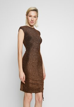 Club L London - METALLIC RUCHED FRONT MINI DRESS - Vestido de cóctel - gold-coloured