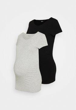 ONLY - OLMLOVELY LIFE ONECK 2 PACK - T-Shirt basic - black/light grey melange