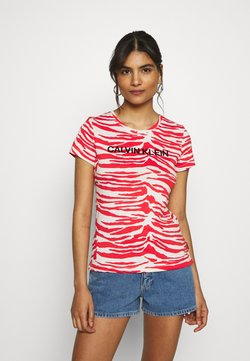 Calvin Klein - ZEBRA PRINT STRETCH TEE - T-Shirt print - red/white