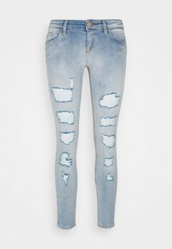 ONLY Petite - ONLCORAL LOW DESTROYD - Jeans Skinny Fit - light blue denim