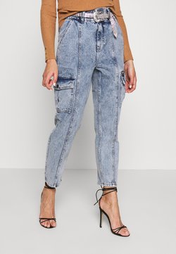 River Island - BLING BELT TROUSER - Jeans baggy - acid blue
