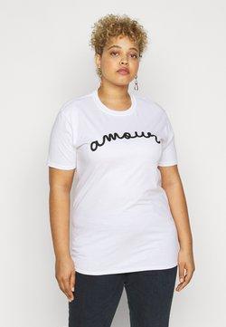 Missguided Plus - AMOUR GRAPHIC SLOGAN - T-shirt imprimé - white