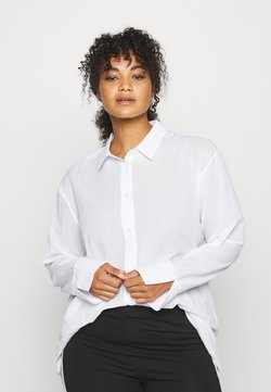 NU-IN - OVERSIZED BUTTON UP BEACH SHIRT - Bluser - white