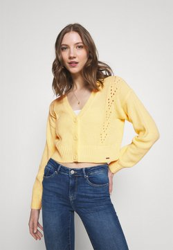 Hollister Co. - EASY POINTELLE CROP CARDI  - Gilet - yellow