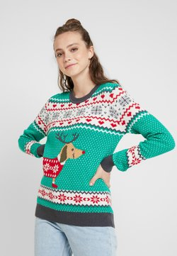 Urban Classics - SAUSAGE DOG CHRISTMAS - Pullover - teagreen/white/red/darkgrey