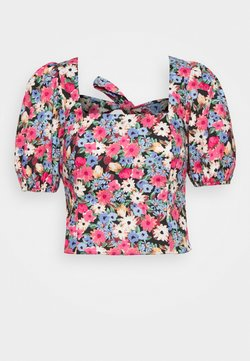 Miss Selfridge - 80S FLORAL BOW BACK TOP - Bluse - pink