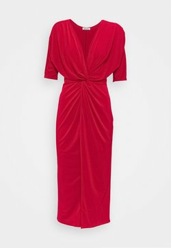 WAL G TALL - FRONT KNOT SLEEVE MIDI DRESS - Maxiklänning - red