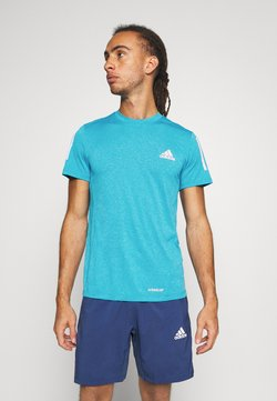 adidas Performance - AEROREADY TRAINING SPORTS SHORT SLEEVE TEE - T-shirt con stampa - signal cyan melange
