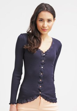 Rosemunde - SILK-MIX CARDIGAN REGULAR LS W/REV VINTAGE LACE - Strikjakke /Cardigans - navy