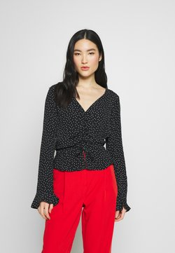 Miss Selfridge - PINSPOT RUCHED BLOUSE - Bluse - black