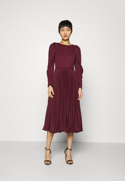 Closet - PUFF SHOULDER PLEATED SKIRT DRESS - Cocktail dress / Party dress - wine