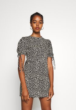 Topshop - ANIMAL TEA DRESS - Jerseyjurk - white/black