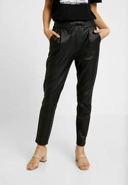 Vero Moda - VMEVA LOOSE STRING COATED PANT - Stoffhose - black