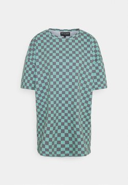 NEW girl ORDER - CHECKERBOARD TEE - T-Shirt print - black/teal