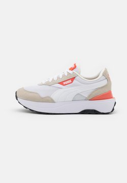 Puma - CRUISE RIDER CLASSIC - Matalavartiset tennarit - white/marshmallow/hot coral