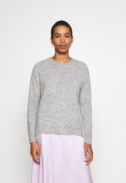 Selected Femme - SLFLULU ONECK  - Strikkegenser - light grey melange