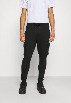 Burton Menswear London - CARGO ZIP JOGGER - Jogginghose - black