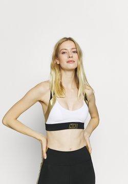 Nike Performance - INDY METALLIC LOGO BRA - Sport BH - white/black/metallic gold