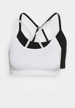 Cotton On Body - YOGA CROP 2 PACK - Sujetadores deportivos con sujeción ligera - black/white