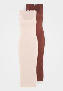 Missguided Tall - SLINKY RACER DRESS 2 PACK - Maxikleid - sand/chocolate
