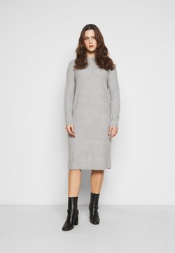 Pieces Curve - PCDISA MOCK NECK DRESS CURVE - Strickkleid - light grey melange