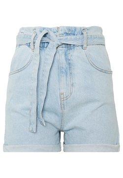 Gina Tricot - PAPERBAG DENIM SHORTS - Jeansshort - light blue