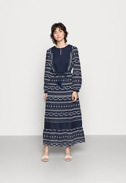 Thought - VALENTINA EMBROIDERED FLARE DRESS - Maxikleid - navy