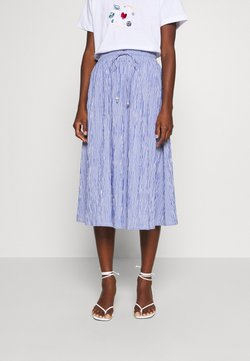 Rich & Royal - MIDI SKIRT STRIPED - A-Linien-Rock - deep indigo