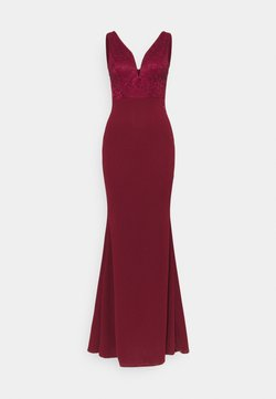 WAL G. - SLEEVELESS V NECK DRESS WITH SIDES - Abito da sera - wine