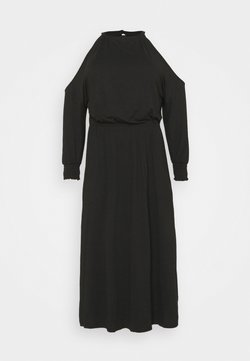 Simply Be - COLD SHOULDER SOFT TOUCH SKATER DRESS - Freizeitkleid - black