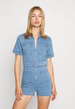 Missguided - SELF BELTED PLAYSUIT - Combinaison - light wash
